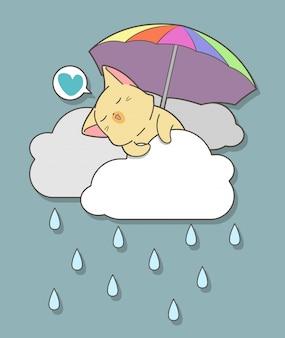 Kawaii kot trzyma parasol na chmurach