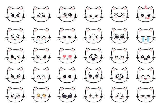 Kawaii koty biała głowa kotka awatary anime z różnymi emocjami strach płacz złość apatia śmierć radość