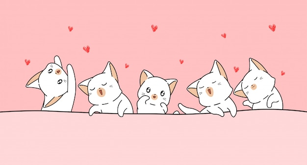 Kawaii koty kochają mini serca