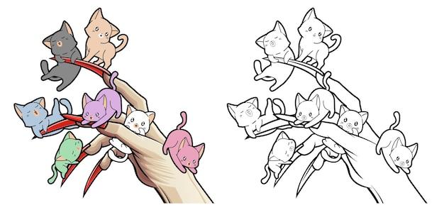 Kawaii koty z kreskówkową ręką diabła