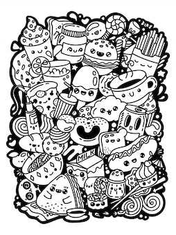 Kawaii kreskówka doodle słodkie postacie. pyszne jedzenie zestaw czarno-białe ręcznie rysowane kolorowanki.