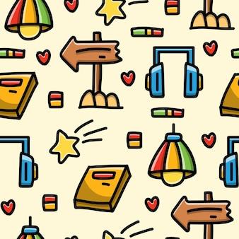 Kawaii Kreskówka Doodle Wzór Premium Wektorów