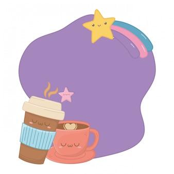 Kawaii kreskówka filiżanka kawy