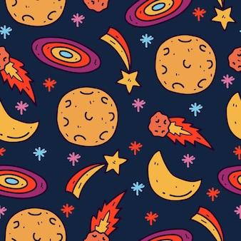 Kawaii kreskówka galaktyka doodle wzór