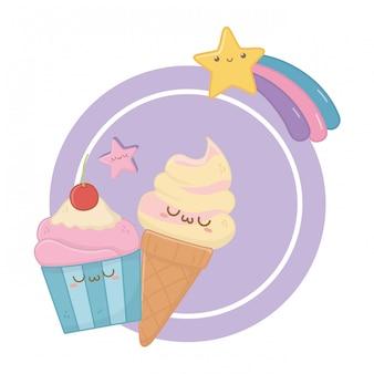 Kawaii kreskówka lody