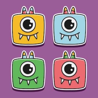 Kawaii kreskówka potwór doodle ilustracja projekt