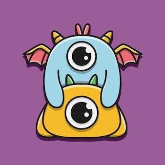 Kawaii kreskówka potwór doodle ilustracja