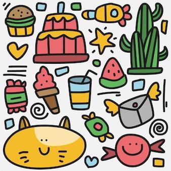 Kawaii kreskówka szablon doodle