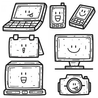 Kawaii kreskówka szablon projektu doodle