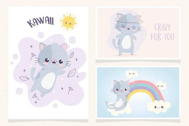 Kawaii kreskówkowy śliczne koty wyrażenie twarz tęcza obłoki znaki transparent