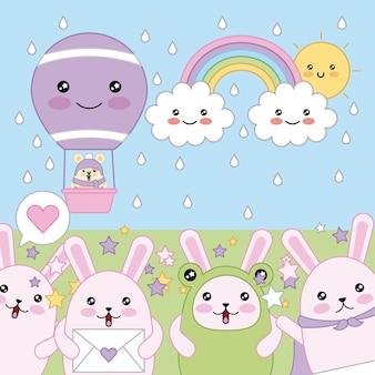 Kawaii królików przyjazny myszy w balon na gorące powietrze kreskówka