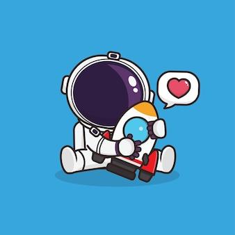 Kawaii ładny astronauta z ilustracją maskotki ikony rakiety