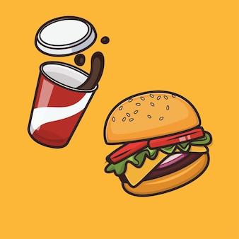 Kawaii ładny burger i ilustracja ikona coli