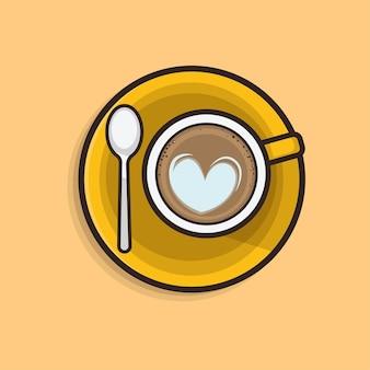 Kawaii ładny płaski ilustracja kawa