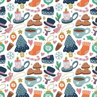 Kawaii ładny świąteczny wzór w skandynawskim stylu. można używać do tkanin itp