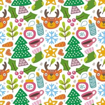 Kawaii ładny świąteczny wzór w skandynawskim stylu.