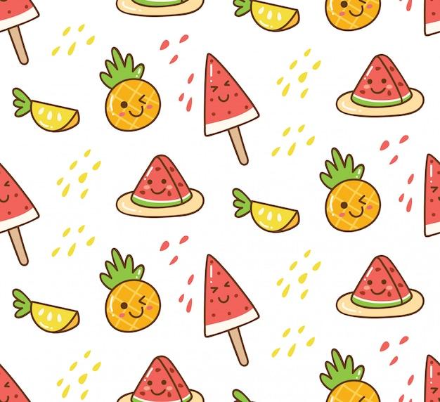 Kawaii lato tło z arbuzem i ananasem