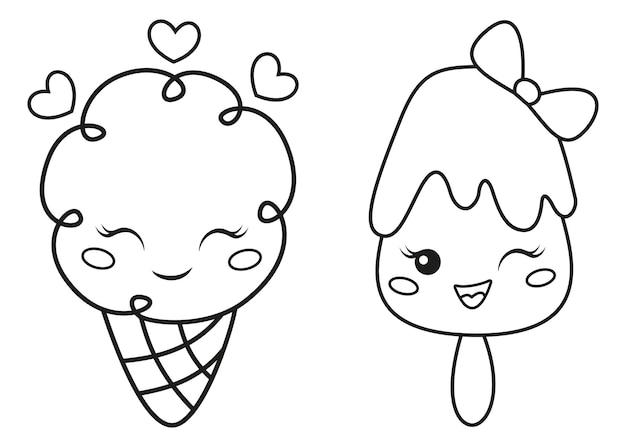 Kawaii lody kolorowanki dla dzieci, ilustracja kreskówka wektor zarys
