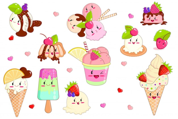 Kawaii lody w rożkach waflowych i słodkie owoce