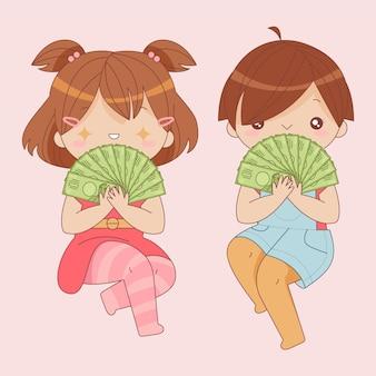 Kawaii ludzie trzymający pieniądze w jenach