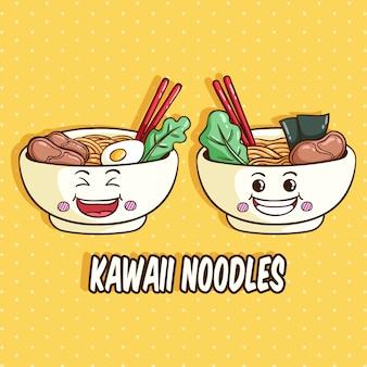 Kawaii miska z makaronem o śmiesznej twarzy lub wyrazie