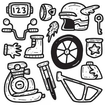 Kawaii motocykl doodle szablon