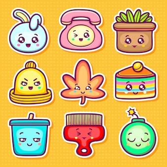 Kawaii naklejki ikony ręcznie rysowane doodle kolorowanki