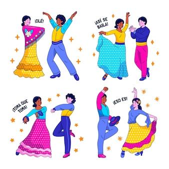 Kawaii naklejki tańca flamenco
