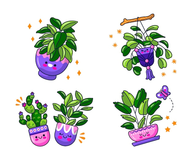 Kawaii naklejki z kwiatami i roślinami