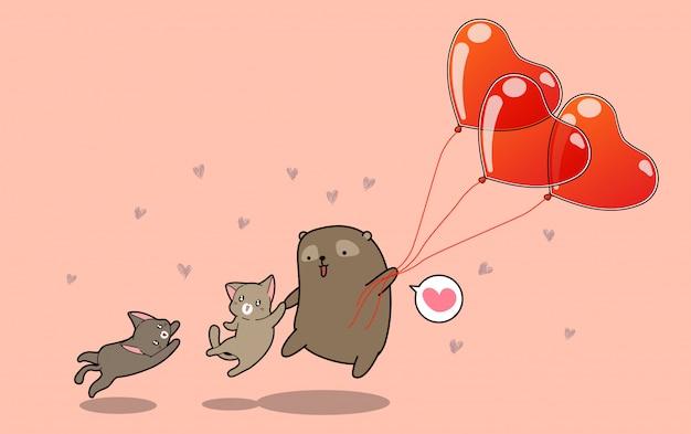 Kawaii niedźwiedź i koty lecą z balonami serca w walentynki