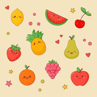 Kawaii owoce jedzenie ładny zestaw twarzy. kolekcja naklejek na białym tle charakter pomarańczowy i jabłko. zestaw ikon zdrowego wegańskiego posiłku. zabawny japoński ananas emoji doodle płaski kreskówka wektor ilustracja