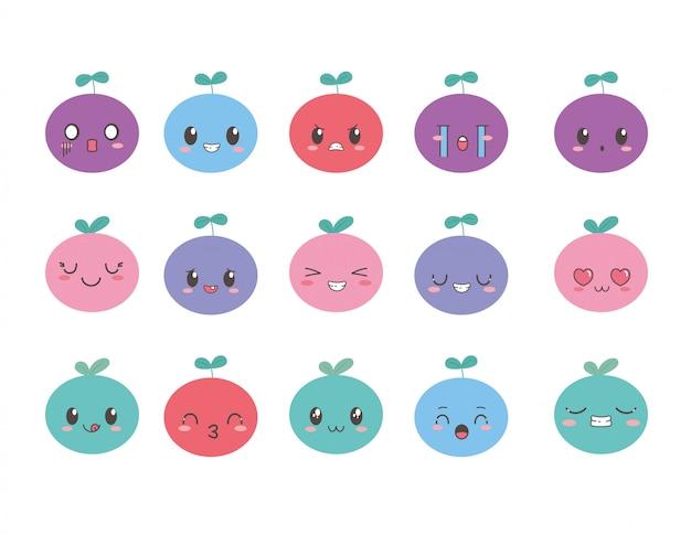 Kawaii owoce z uroczą kolekcją kreskówek na wyraz twarzy