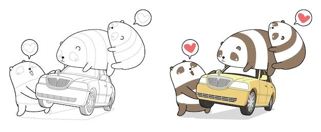 Kawaii panda podnosi kolorowankę kreskówki samochodu