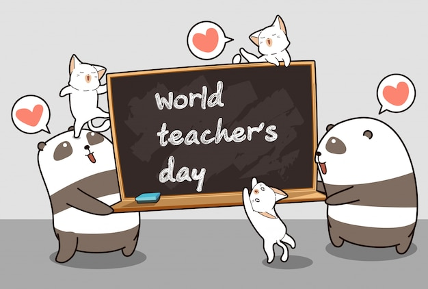 Kawaii pandy i koty trzymają tablicę w dzień światowego nauczyciela