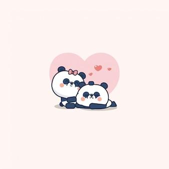 Kawaii para niedźwiedzi panda, urocze zwierzęta, styl mieszkanie i kreskówka, ilustracja