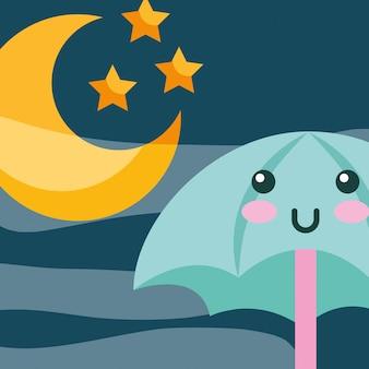 Kawaii parasol księżyc i stras kreskówek