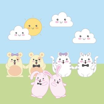 Kawaii pary kotów króliki i myszy kreskówki słoneczny dzień