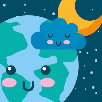 Kawaii planeta ziemia chmura i gwiazda przestrzeń kreskówka