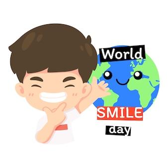 Kawaii postać z kreskówki, ładny chłopiec w ilustracji koncepcji światowego dnia uśmiechu