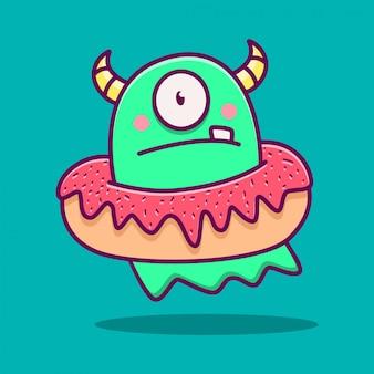 Kawaii potwór doodle ilustracja
