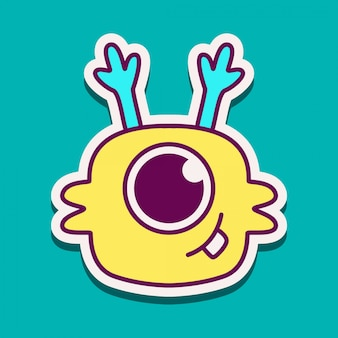 Kawaii potwór doodle szablon projektu
