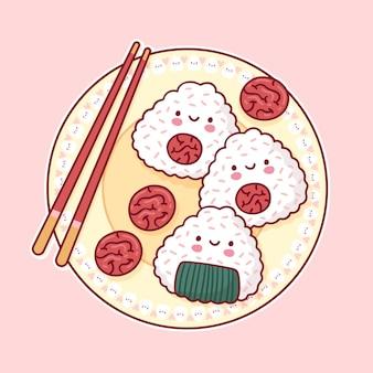 Kawaii pyszne japońskie onigiri umeboshi na talerzu