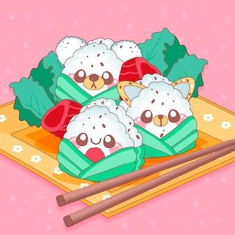 Kawaii pyszne japońskie onigiri umeboshi z twarzami
