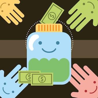 Kawaii ręce i banknoty pieniądze słoik przekazać miłość