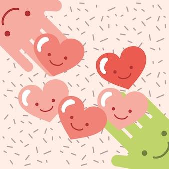 Kawaii ręce serca miłość kreskówka przekazać obraz miłości