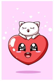 Kawaii serce i kotek, ilustracja kreskówka tematu valentine