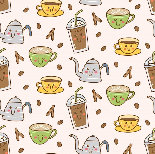 Kawaii sklep z kawą bezszwowe tło