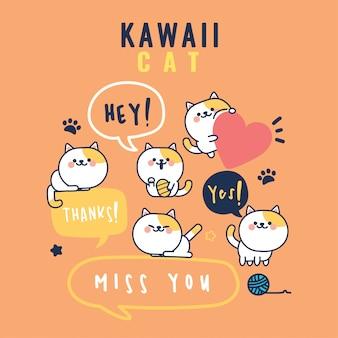 Kawaii śliczny kotek z kolekcją wyrażeń tekstowych