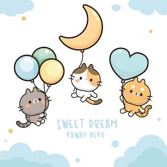 Kawaii słodki kot na balony na niebie