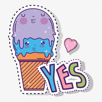 Kawaii słodkie lody z sercem